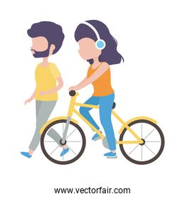 man walking and woman riding scooter with earphones