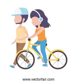 man walking and woman with headphones riding bike