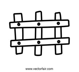 wooden fence protection barrier cartoon thick line