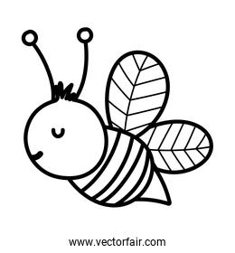 bee insect fauna farm animal cartoon background thick line