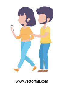 young woman with smartphone and man walking healthy lifestyle