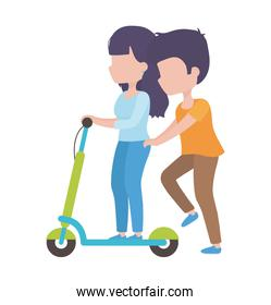 couple riding electric scooter cartoon characters healthy lifestyle
