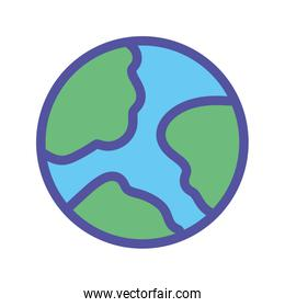 world planet map geography icon on white background