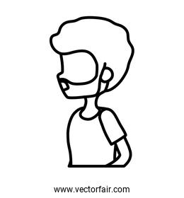 side view young man portrait character thick line