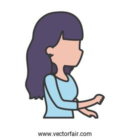 young woman cartoon character side view