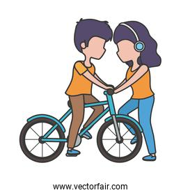 woman with headphones and man riding bike