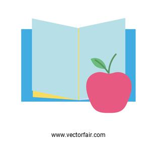 back to school education open book and apple