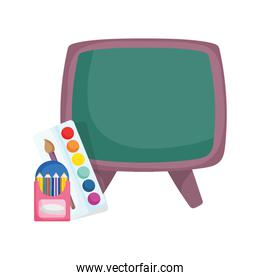 education chalkboard pencils in box and palette color