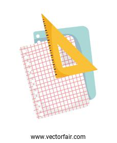 back to school education grid papers and triangle ruler
