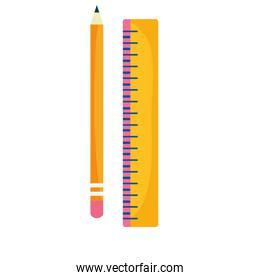 back to school education wooden pencil and ruler geometric measure