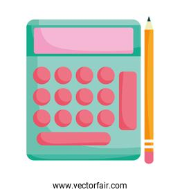 back to school education calculator and pencil supplies