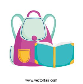back to school education open book and backpack supply