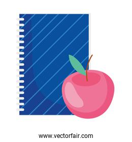 education apple and notebook
