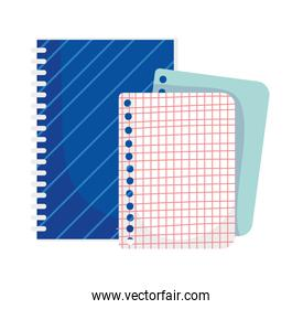 back to school education notebook and paper grid sheet