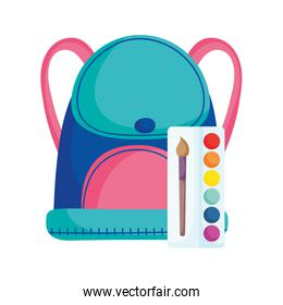 back to school education backpack and palette color brush art