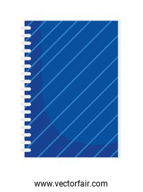 back to school notepad with spiral supply stationery over white