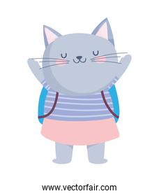 cute cat with backpack cartoon