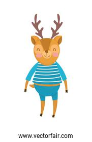 deer with clothes cartoon character on white background