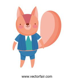 cute squirrel with clothes cartoon character over white