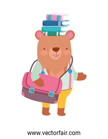 back to school education bear with handbag and books in head