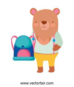 back to school education cute bear with backpack and clothes