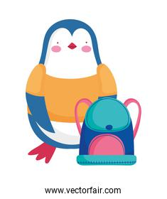 back to school education cute penguin with shirt and backpack