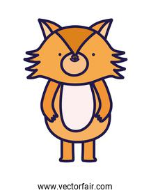 cute fox forest animal cartoon character on white background