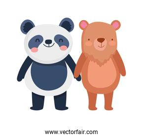 little panda and bear cartoon character on white background