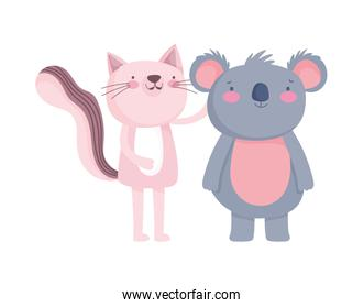 little pink cat and koala cartoon character over white