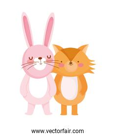 fox and rabbit cartoon character on white background