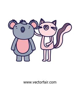 little pink cat and koala cartoon character on white background