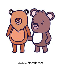 little teddy bear and bear cartoon character on white background