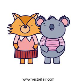 cute fox and koala with clothes cartoon on white background