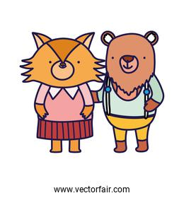 cute bear and fox cartoon on white background
