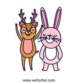 little rabbit and deer cartoon character on white background
