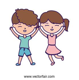 happy childrens day, little boy and girl celebration excited cartoon