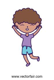 happy childrens day, cute boy hands up celebration cartoon character