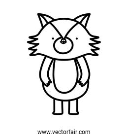 cute fox forest animal cartoon character on white background thick line