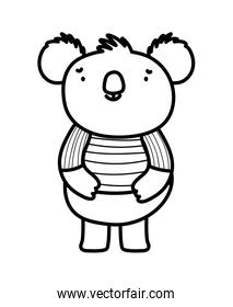 cute koala with striped shirt cartoon character on white background thick line