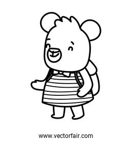 back to school education cute bear female with backpack thick line