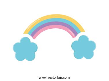 rainbow and clouds decoration icon design
