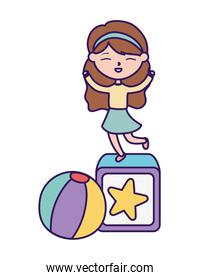 happy childrens day, little girl playing block and ball toys cartoon