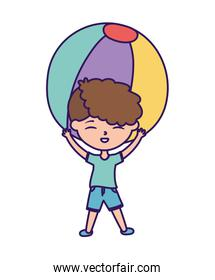 happy childrens day, cute little boy playing with beach ball cartoon