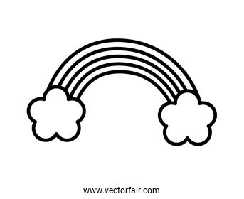 rainbow and clouds decoration icon design thick line