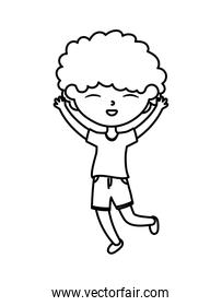happy childrens day, cute boy hands up celebration cartoon character thick line