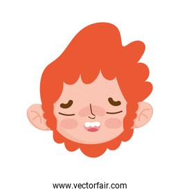 little boy curly hair red face expression