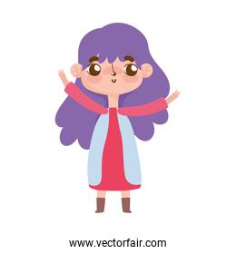 little girl with purple hair and gesture facial