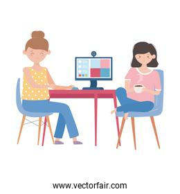 smiling women with computer talking video