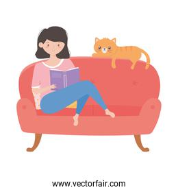 woman reading book on sofa with cat isolated icon on white background