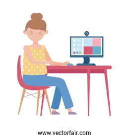 stay at home, woman with computer online connected